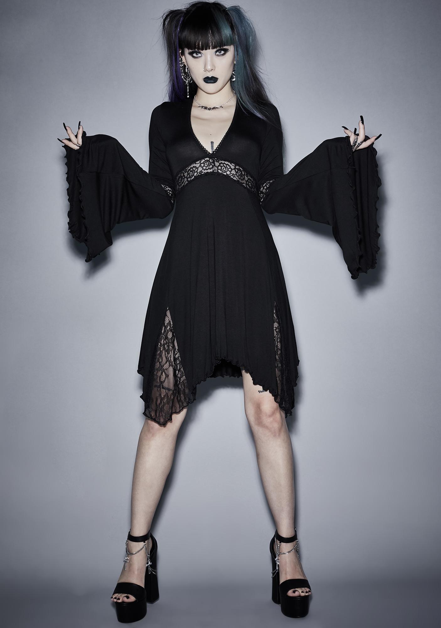 Widow Funeral Parade Bell Sleeve Dress