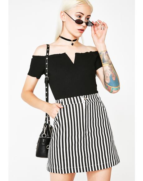Jailbait Striped Mini Skirt