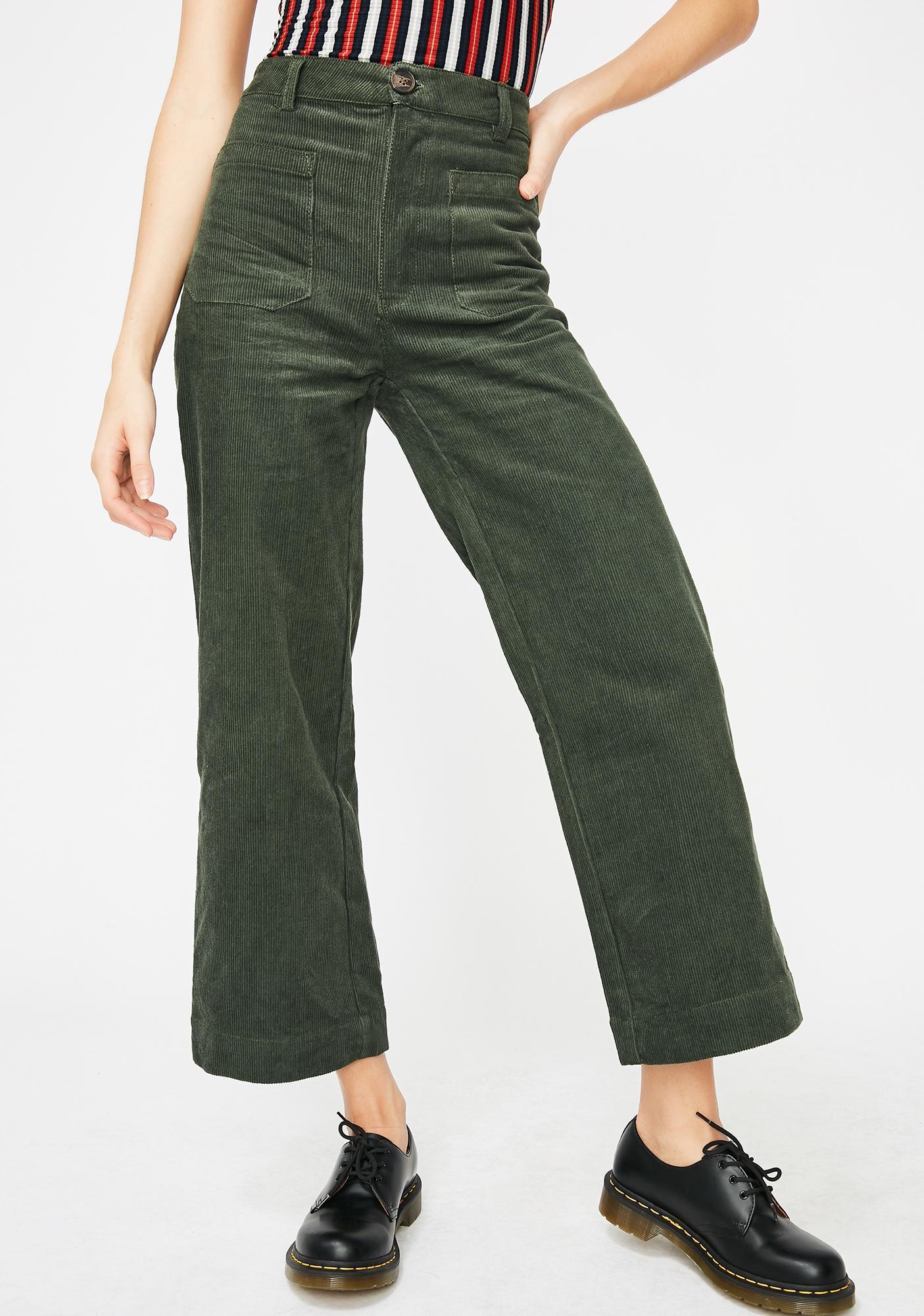 e61796ac6a85 Green Corduroy Capri Pants