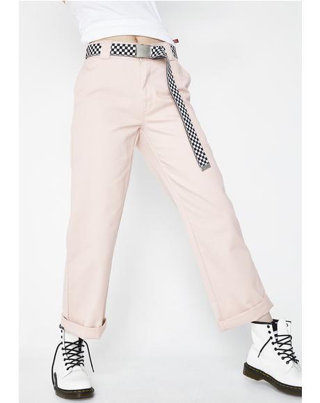 Blush Work Crop Roll Hem Pants