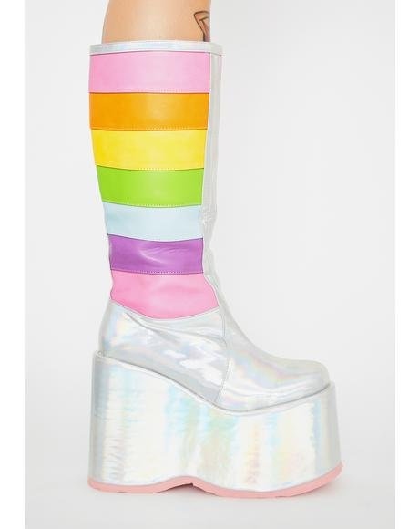 Disco Unicorn Tea Party Platform Boots