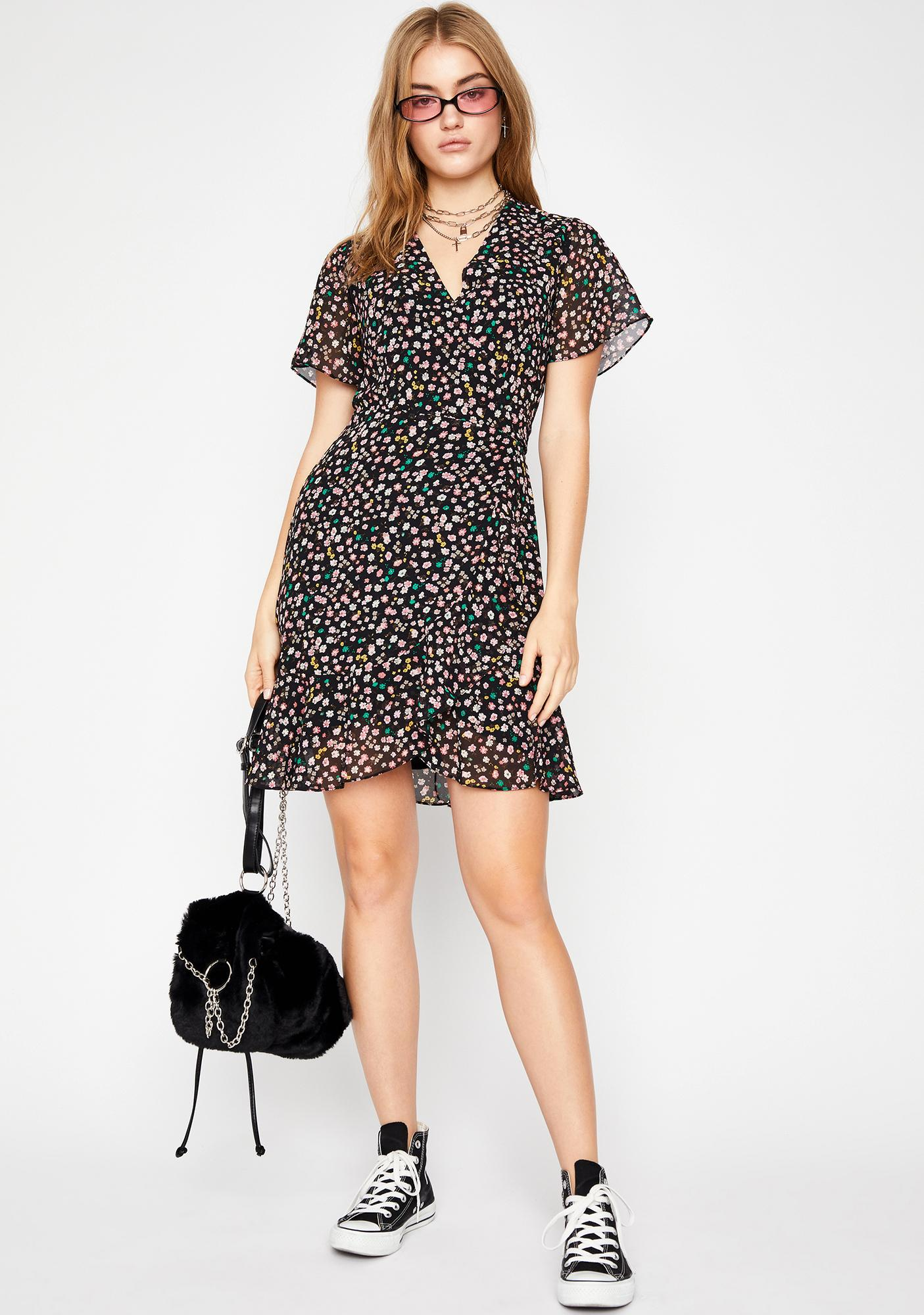 All For You Floral Wrap Dress