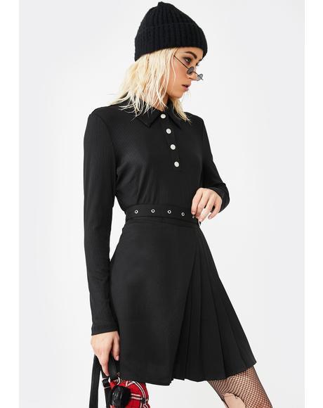 Black Long Sleeve Ribbed Polo Top
