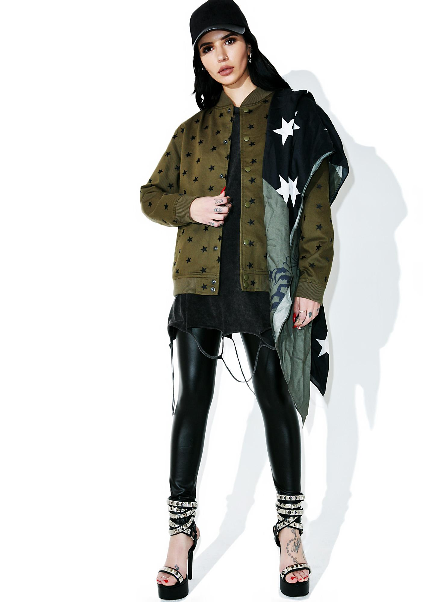 Black Scale Star Embroidered Varsity Jacket