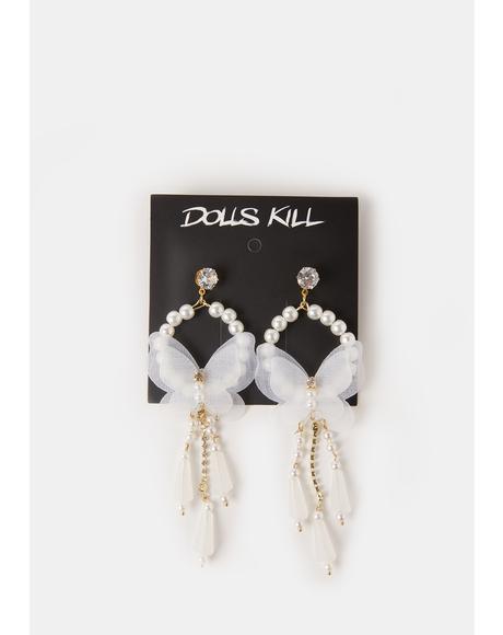 Fairytale Life Butterfly Pearl Drop Earrings