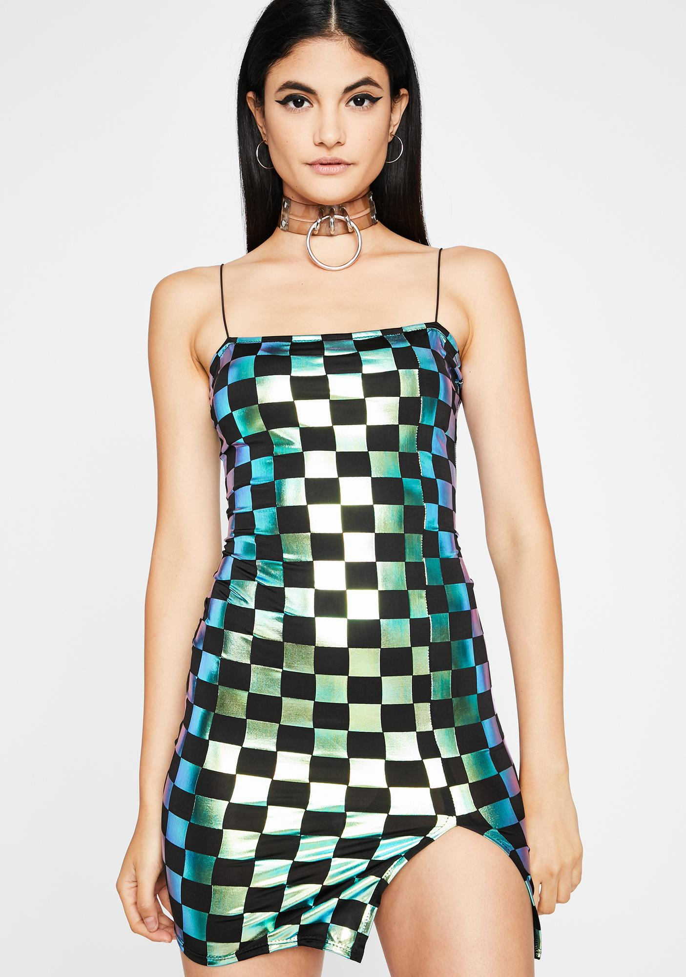 Cash Start Your Engines Metallic Dress