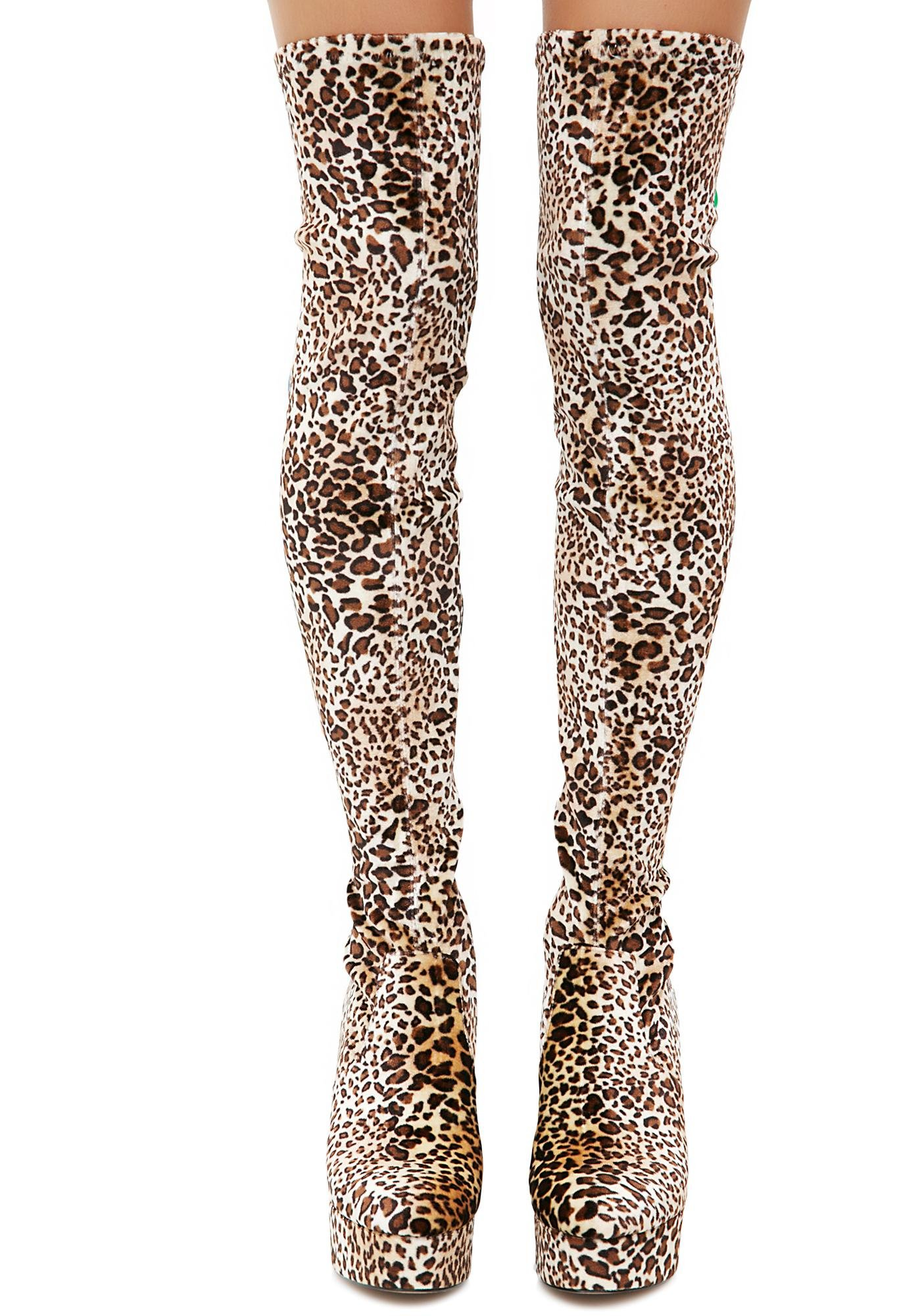 Shellys London Leopard Thigh High Boots