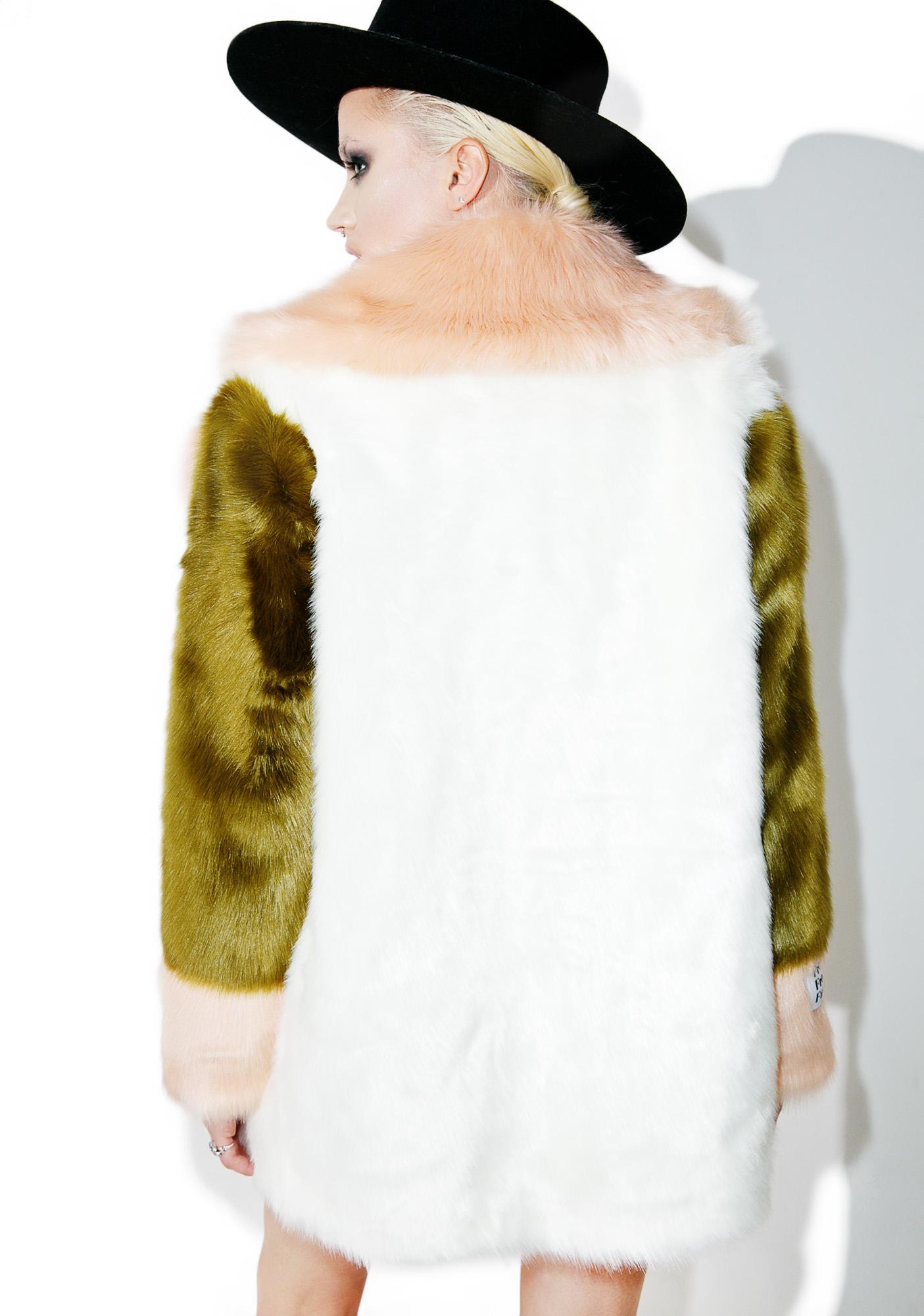 Jakke Kari Fuzzy Faux Fur Coat