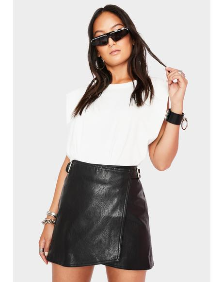 Distance Vegan Leather Wrap Skirt