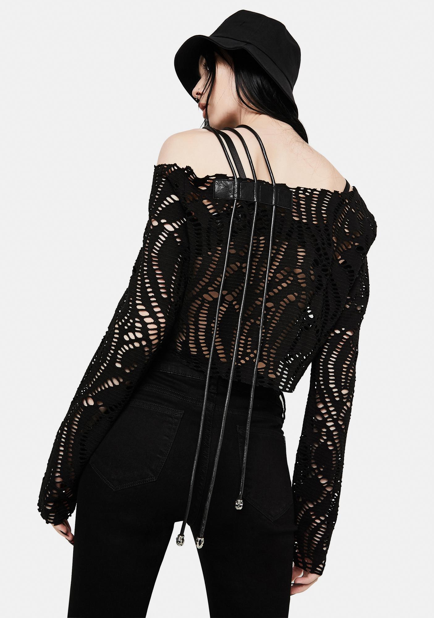 Devil Fashion Long Sleeve Strappy Shoulder Top
