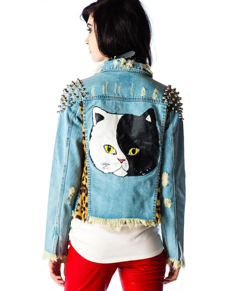 Cat Denim Jacket