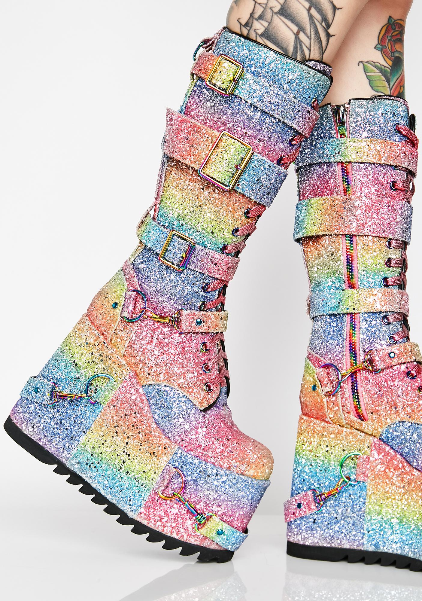 Rainbow Glitter Platform Lace Up Boots