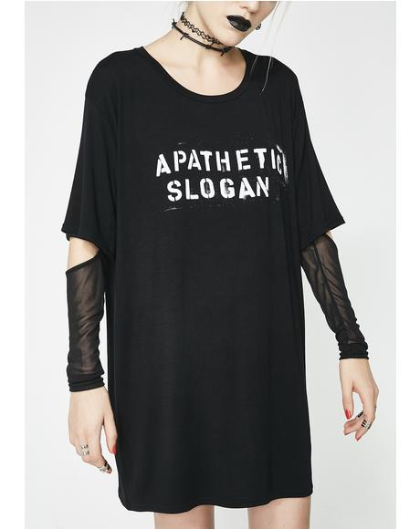 Apathetic Slogan Long Sleeve Tee