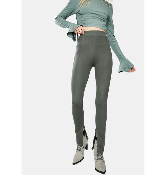 Bailey Rose Olive Bottom Slit Comfy Pants