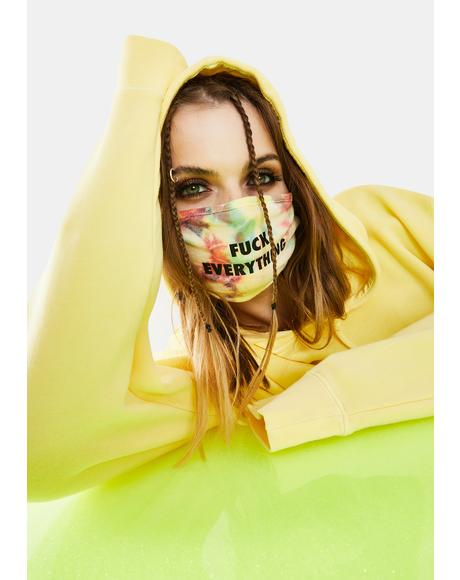 Fuck Everything Yellow Tie Dye Face Mask