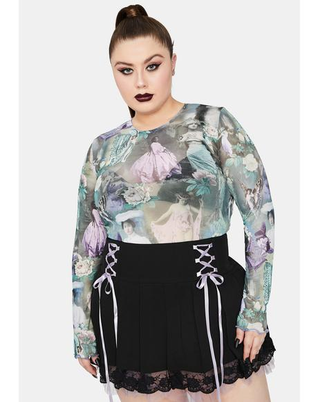 Divine Ink And Feather Portrait Print Long Sleeve Top