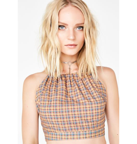 As If Plaid Top