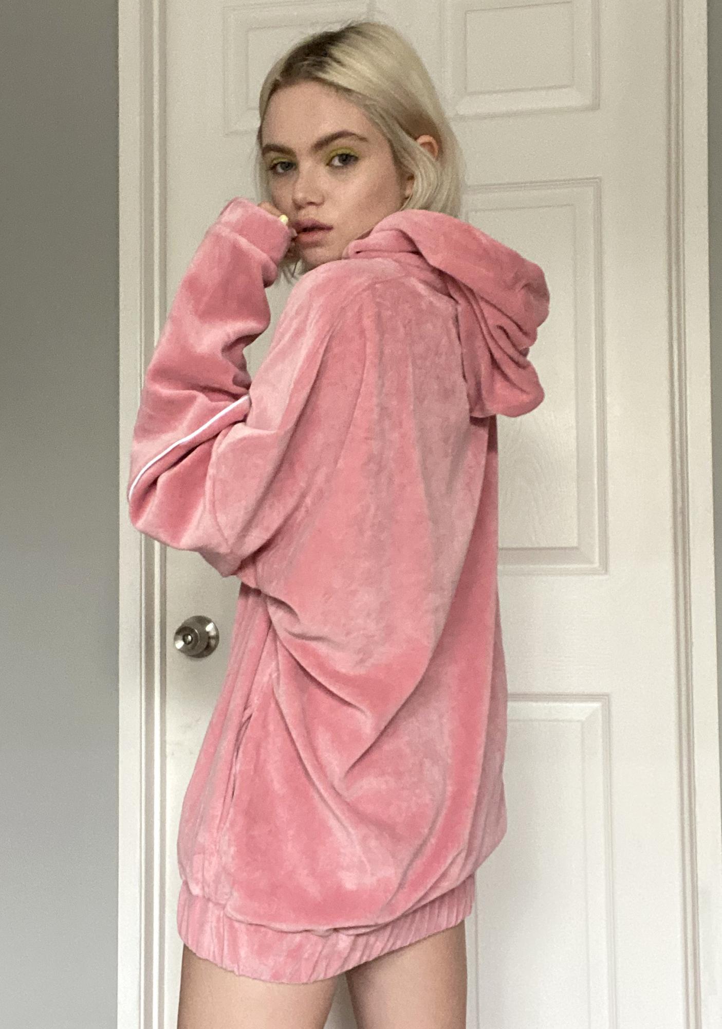 Criminal Damage Pink Velour Hoodie Sweatshirt