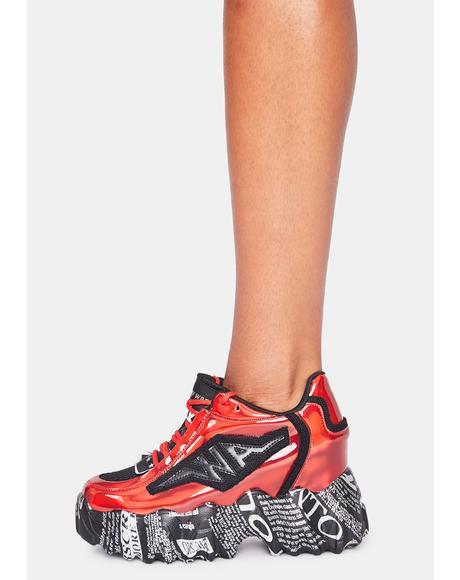 Red And Black Blackberry Platform Sneakers