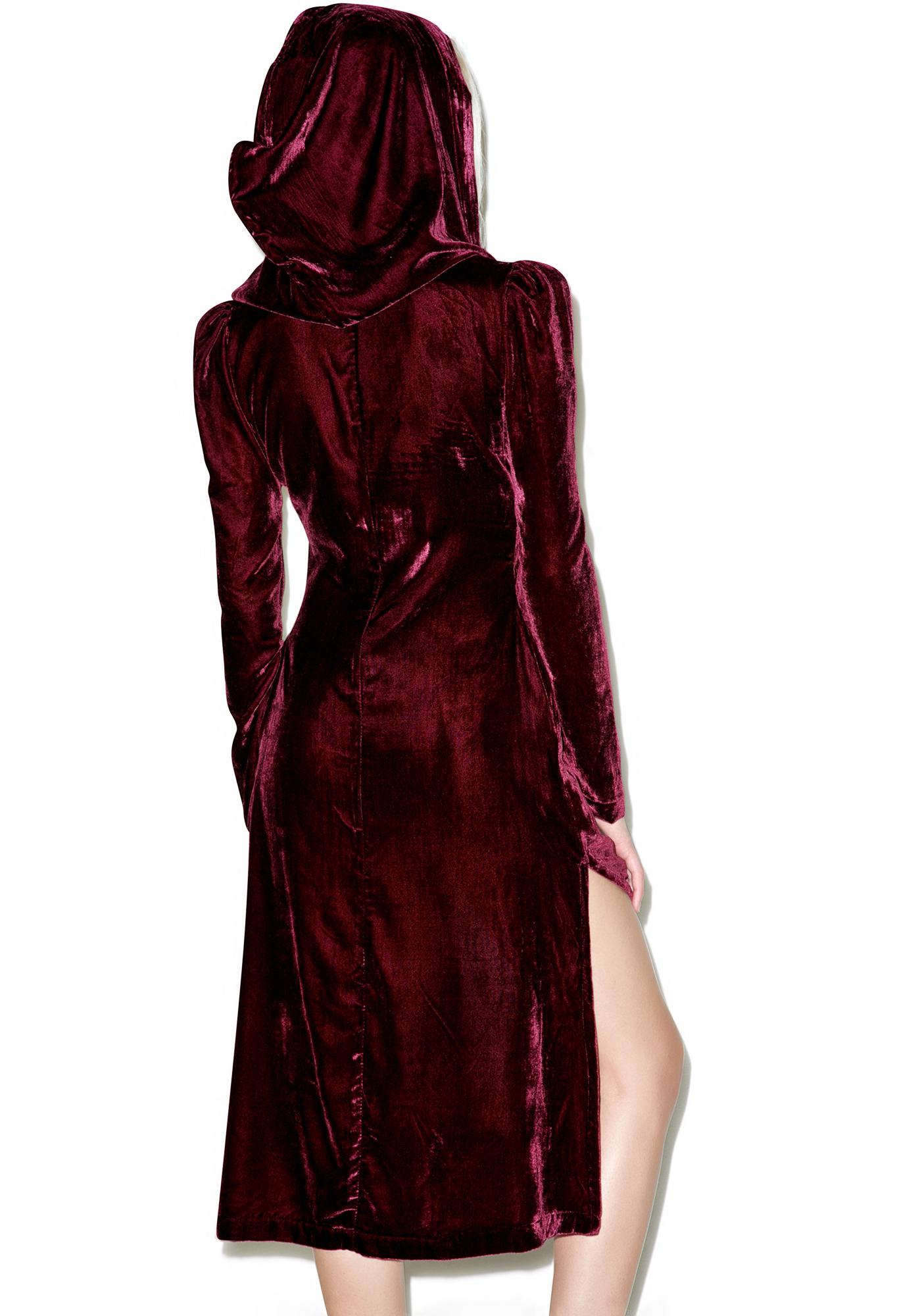 Widow Spectre Oxblood Velvet Hooded Jacket