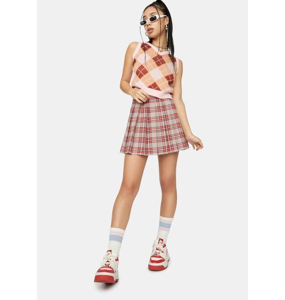 Beige Miss Popular Pleated Skirt