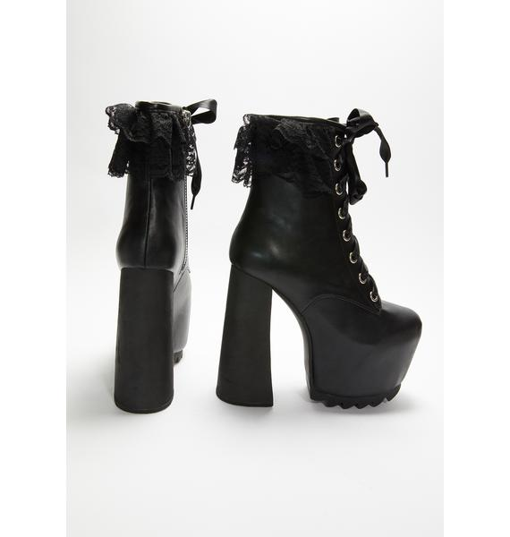 Widow Devil's Dance Lace Up Boots