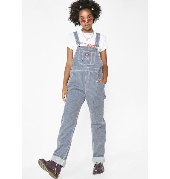 Dickies Girl Hickory Stripe Denim Overalls