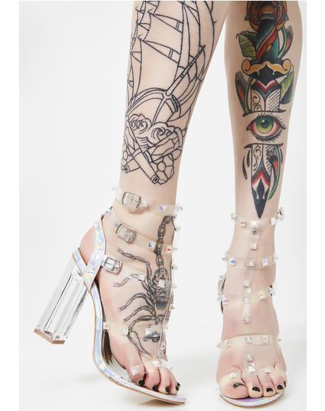 Holographic Futuristic Feminist Crystal Heels