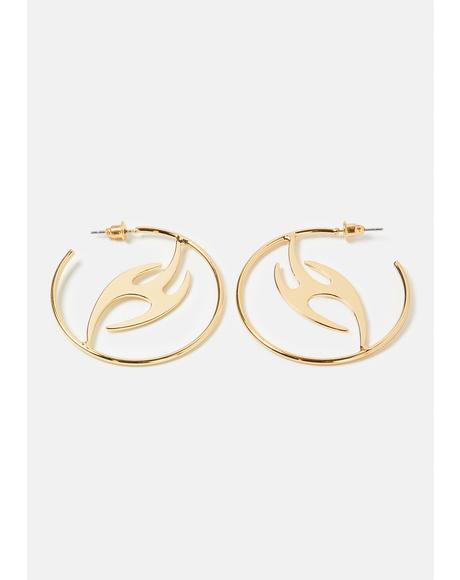 Light The Fire Hoop Earrings