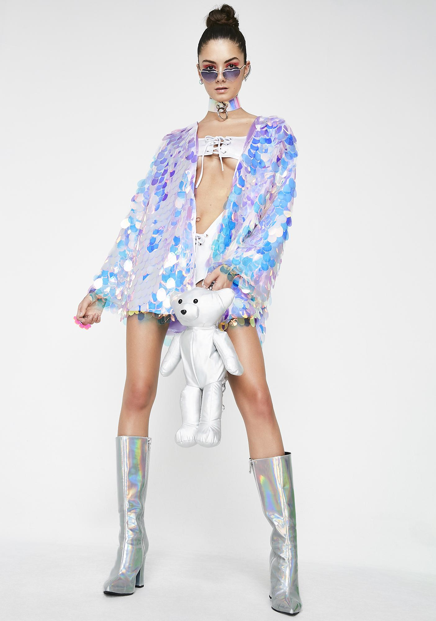 B Glittz Eggshell Iridescent Kimono
