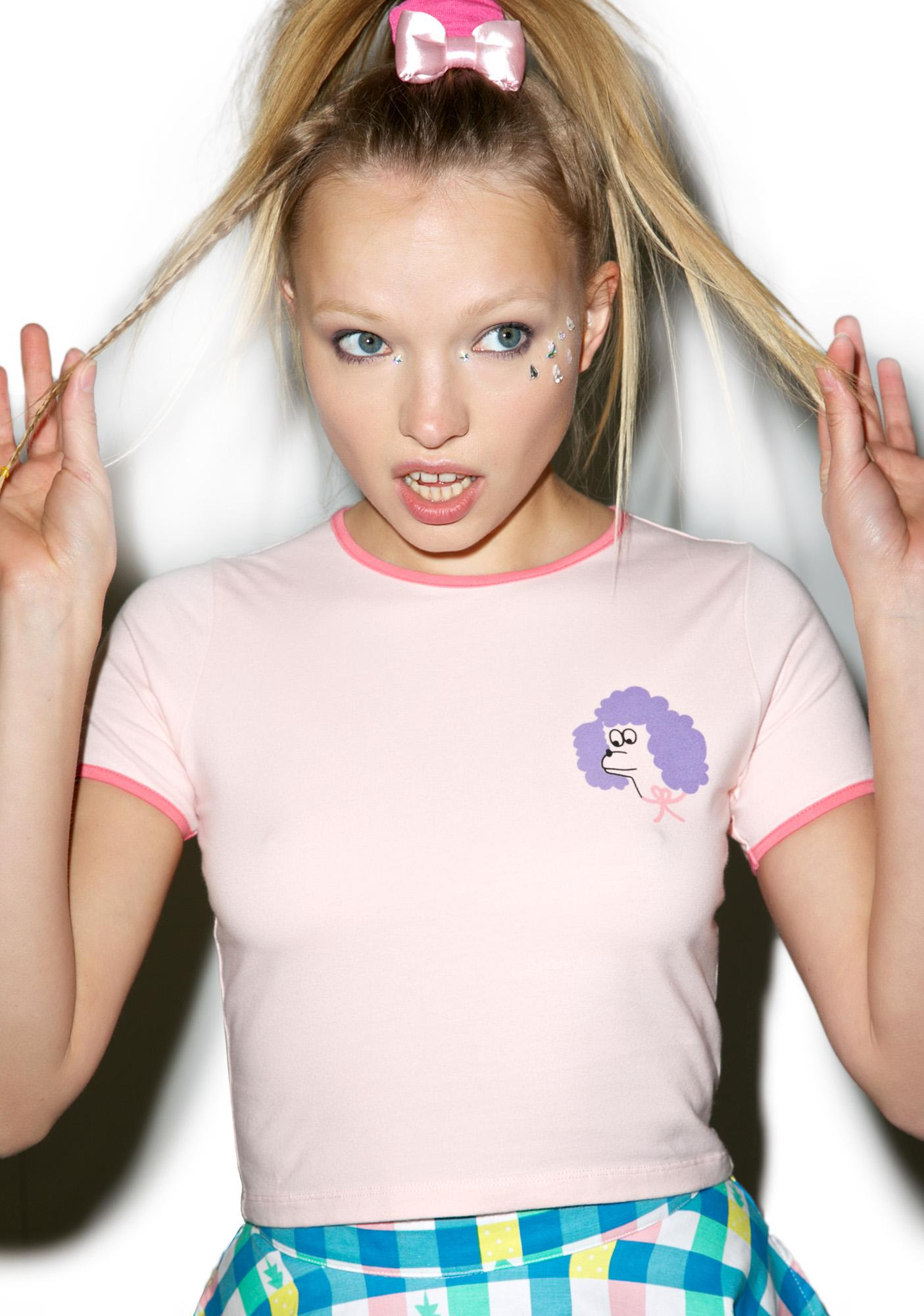 Lazy Oaf Poodle Head Crop T-Shirt