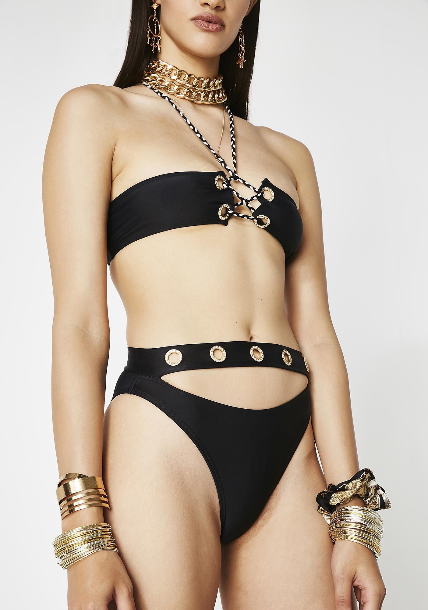 Jaded London Diamante Eyelet Bikini Bottoms