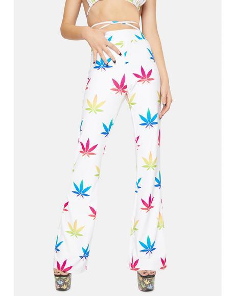 Multicolored Leaf Flare Pants