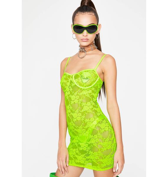 Lime Euphoric Envision Lace Dress