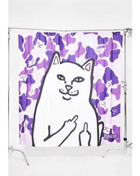 Purple Camo Lord Nermal Shower Curtain