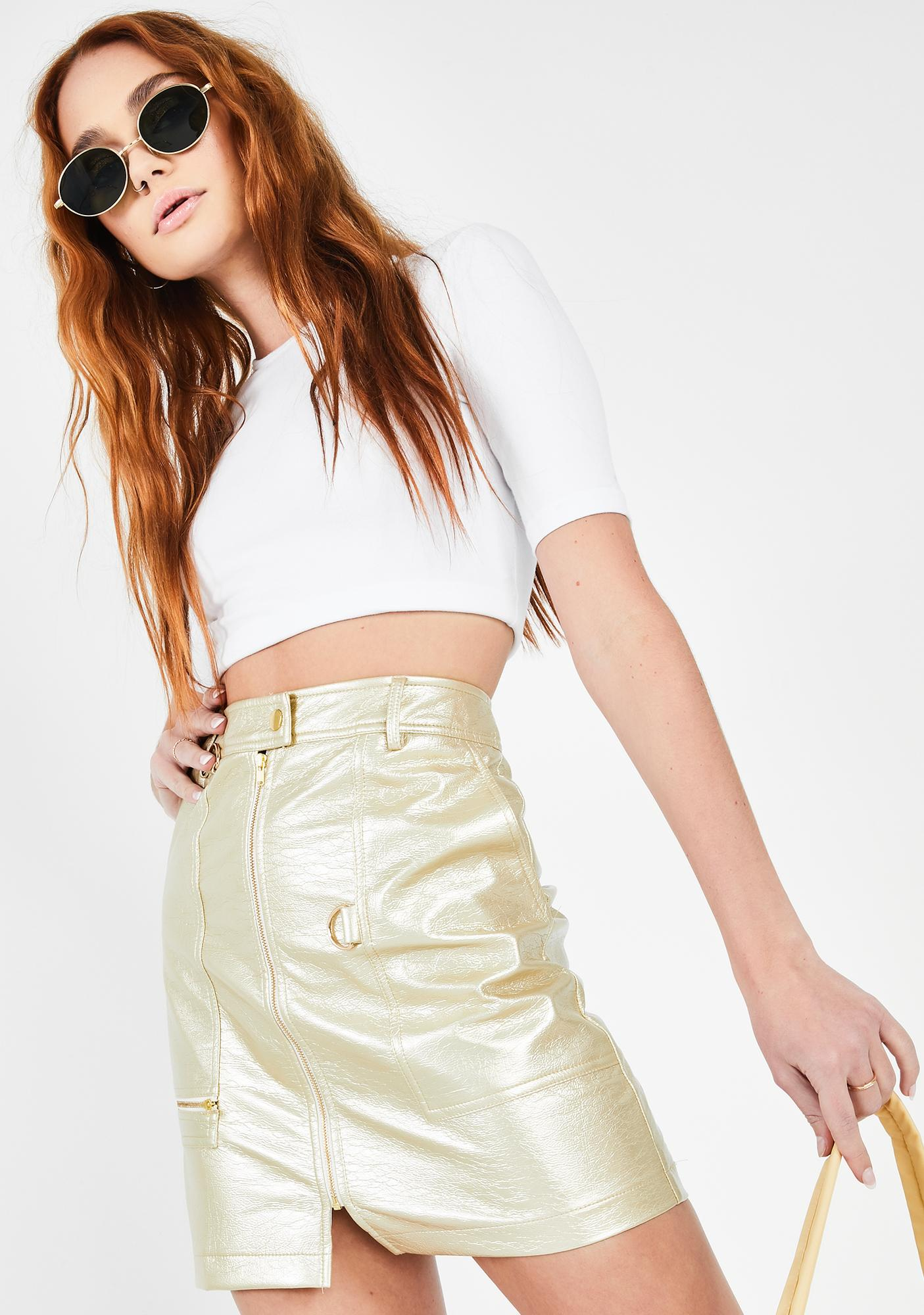 Runaway the Label  Gold Pan Mini Skirt