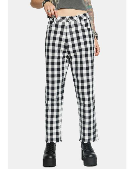 Shelby Gingham Twill Wide Leg Pants