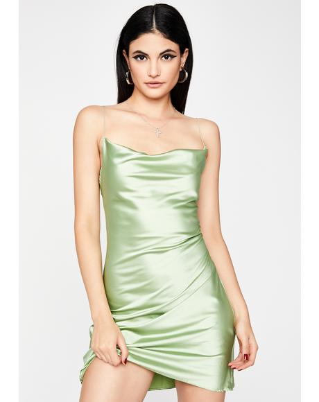 Sage Evening Appeal Satin Dress