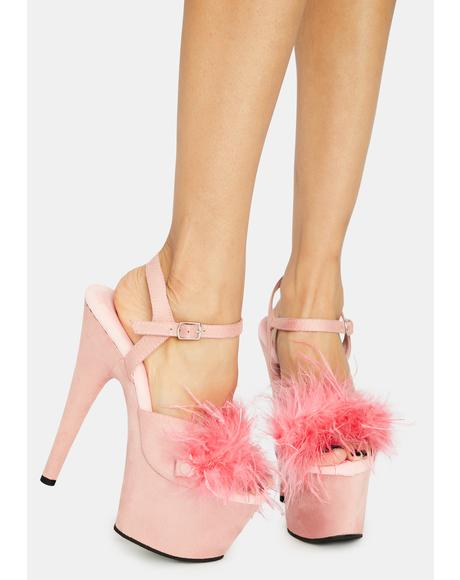 Light Pink Adore Fluffy Heels