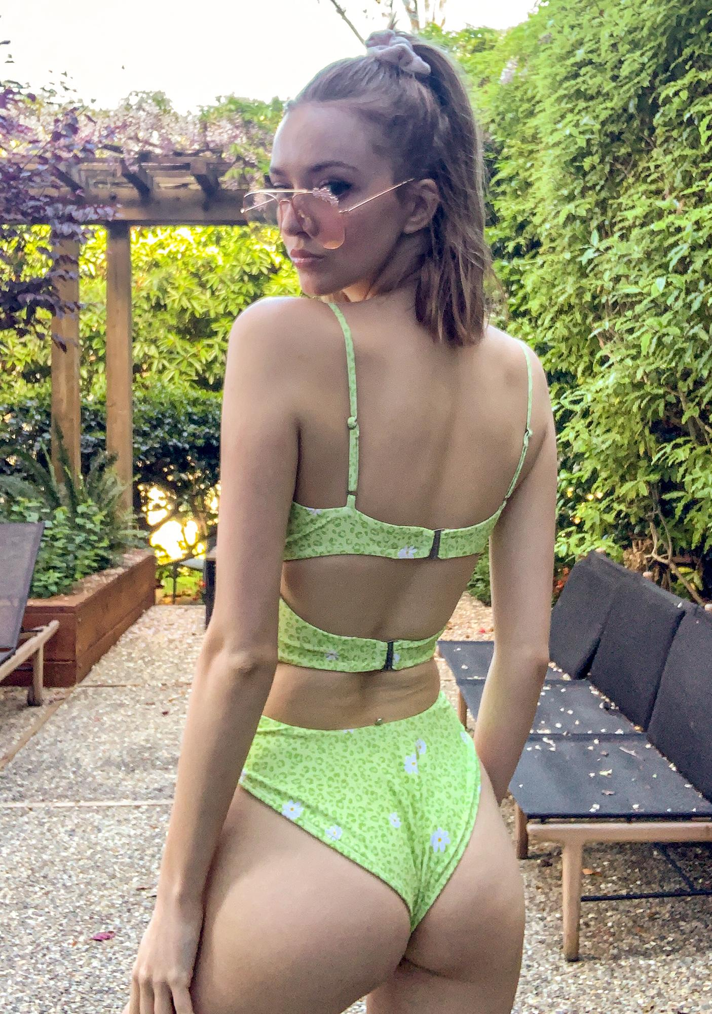 For Love & Lemons Lime Lilac Leopard Daisy Cut Out One Piece Swimsuit