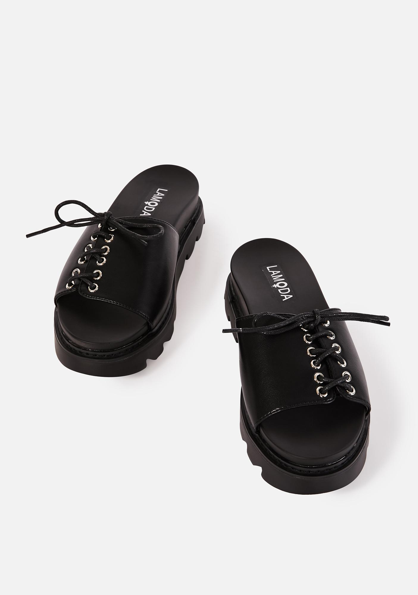 Lamoda Punk Picnic Lace Up Slides