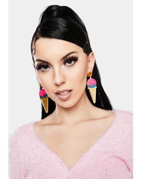 Sundae Sparkle Glitter Ice Cream Earrings
