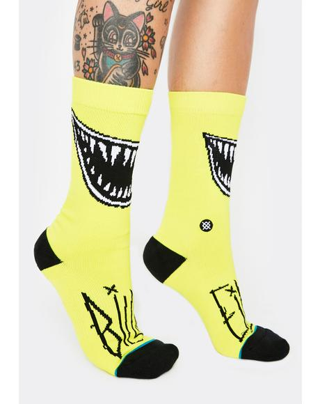 Yellow Grin Crew Socks