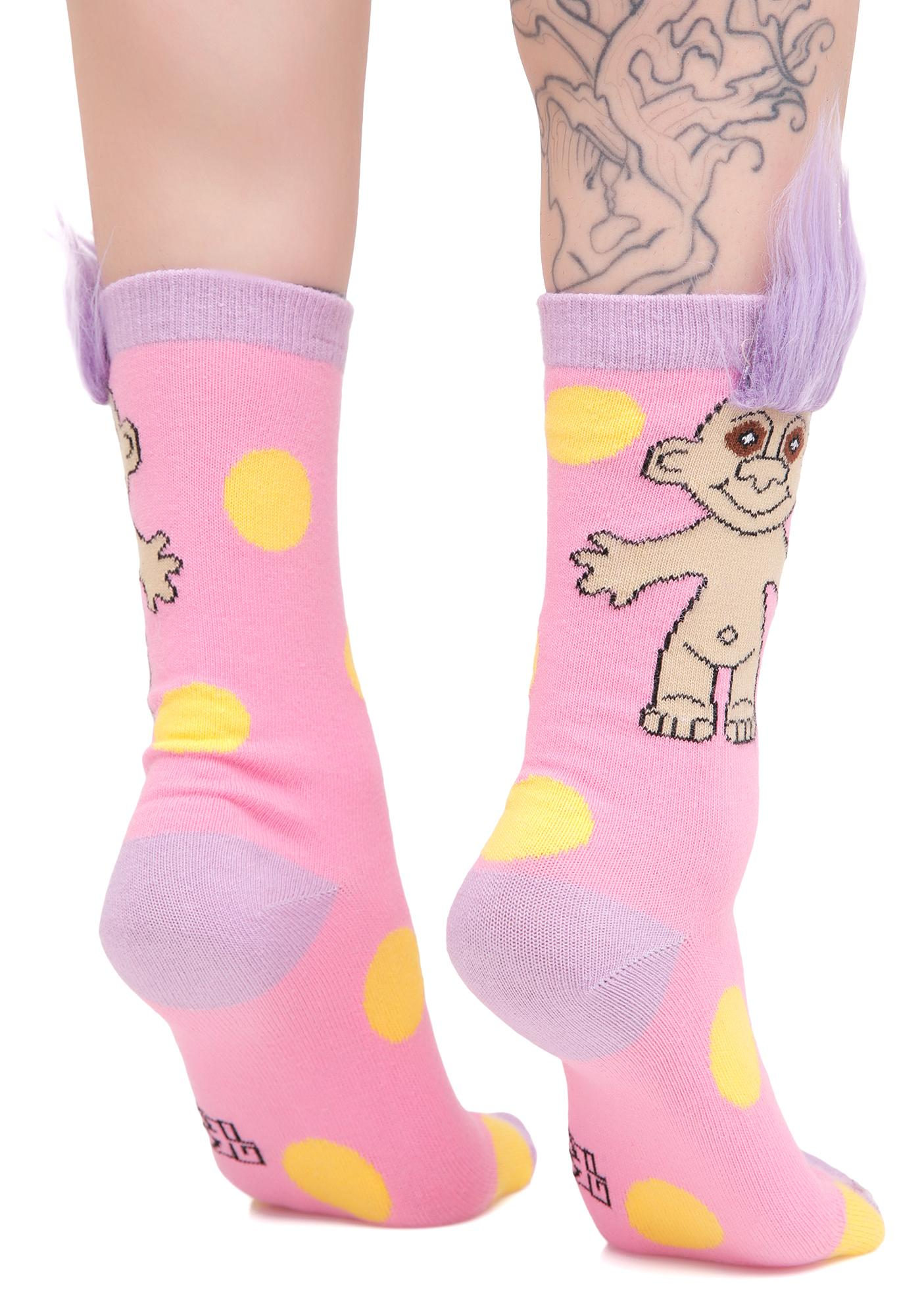 Gumball Poodle Pink Polka Party Crew Socks