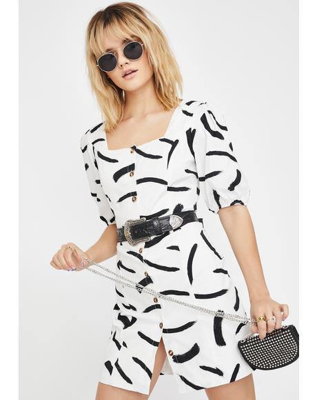 Mono Brush Stroke Dress