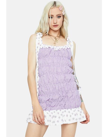 Lavender Spring Sunshine Tie Strap Smocked Sundress