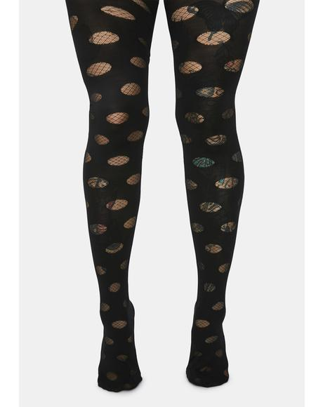 Can't Deny It Fishnet Polka Dot Tights