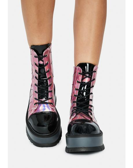 Pink Deadly Prey Platform Boots