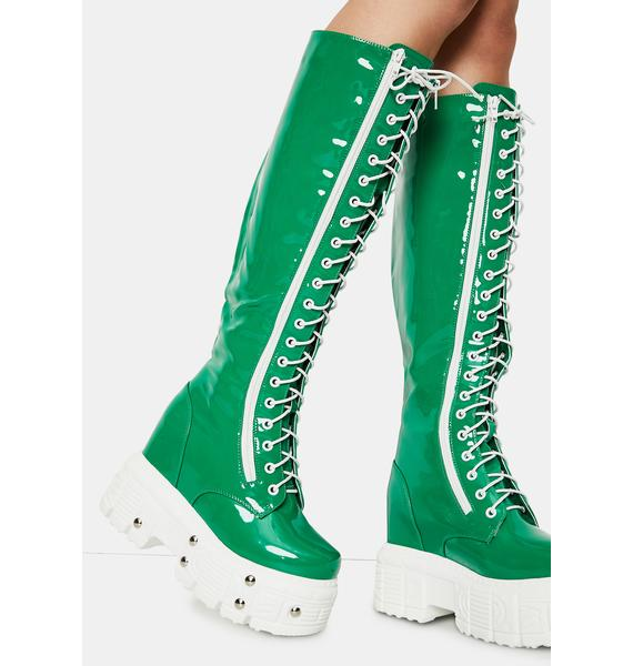 Emerald Late Night Patent Knee High Boots