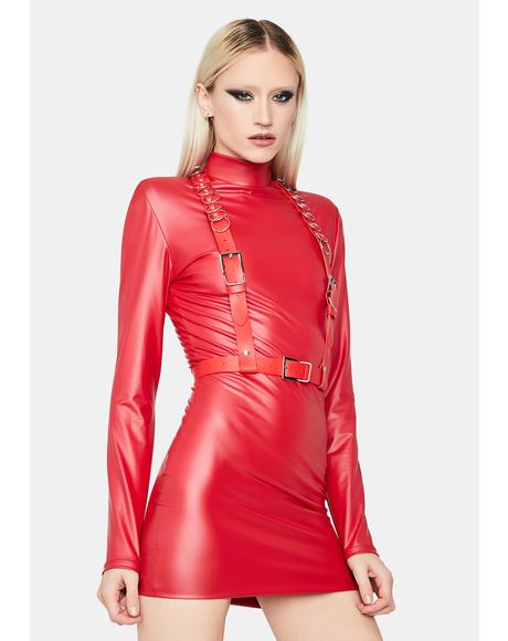 Hot Your Intentions Vinyl Mini Dress